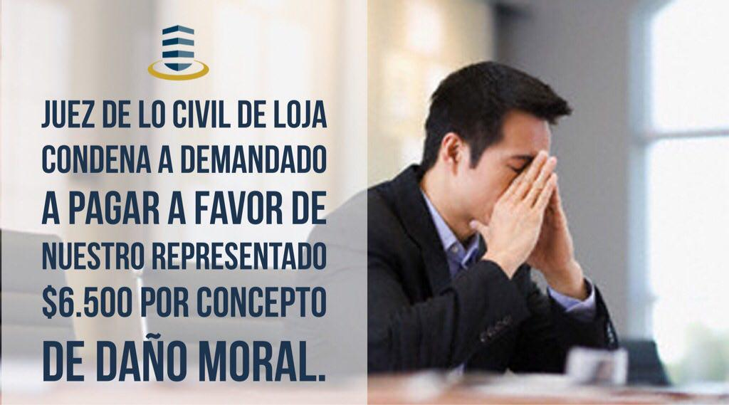 En proceso patrocinado por SOLVE, Juez de lo Civil de Loja condena a demandado a pagar a favor de nuestro representado $6.500 por concepto de daño moral.